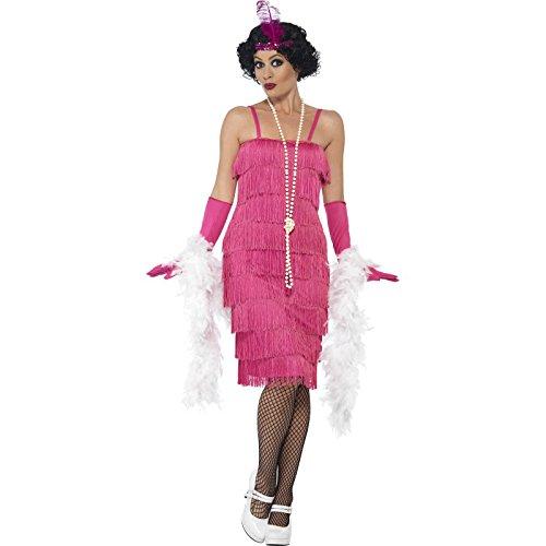 Smiffy's 44670S - Damen Flapper Kostüm, Größe: 36-38, (Kostüme Flapper Pink)