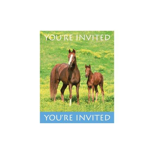 Lot de 8 Invitations Chevaux Sauvages
