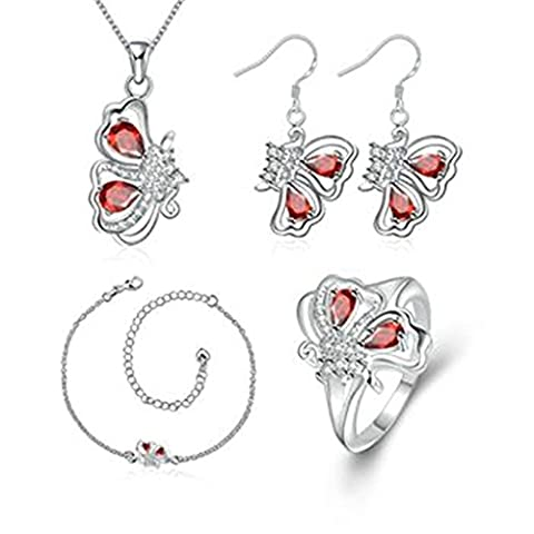 AMDXD Jewelry Silver Plated Women Jewelry Sets Red Butterfly CZ Necklace Earrings Anklet Rings Size P