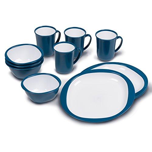 Siehe Beschreibung Geschirrset 12 teilig aus stabilem Polypropylen inklusive Tassen, Schüssel, Teller blau/weiß • Campinggeschirr Geschirr 4 Personen Picknick Camping Garten