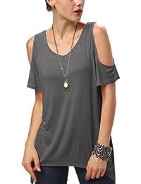 Urban GoCo Mujeres Casual Tallas Grandes Camiseta Slim Fit V Cuello Off Shoulder Túnica Tops