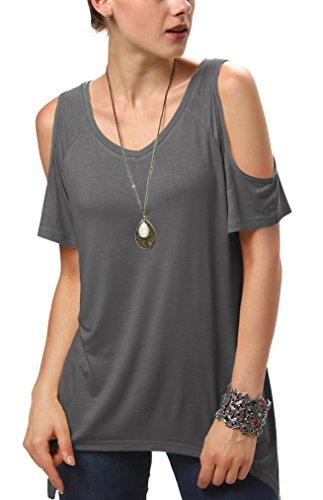 Urban GoCo Mujeres Casual Tallas Grandes Camiseta Slim Fit V Cuello Off Shoulder Túnica Tops Gris oscuro XX-Large