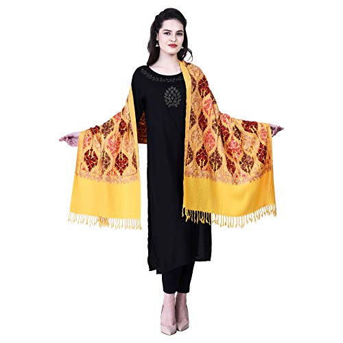 SWI WITH LABEL Ladies Kashmiri Stole (Size 30 x 80 Inches) Viscose by Viscose Matka Design (Yellow)