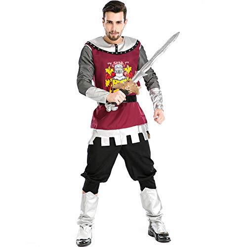 Beängstigend Kostüm Jungen - COSOER Roman Gladiator Kostüm Ritter Kleidung Halloween Herren Cosplay Uniform,Multi-Colored-M