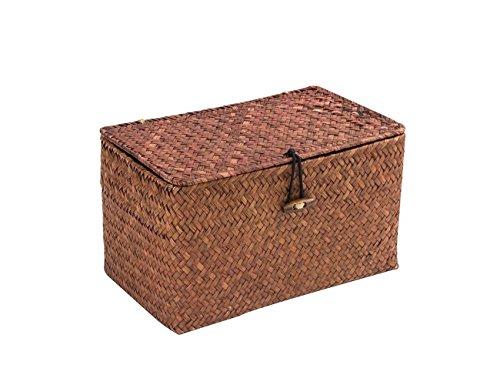 Aufbewahrungsbox WOOD MEETS COLOR Aufbewahrungskiste Dekobox Kosmetik Aufbewahrung mit Deckel Aufbewahrungskörbe aus Natürliche Seagras Praktische ca. 24 × 14 × 13cm (Dunkelbraun)