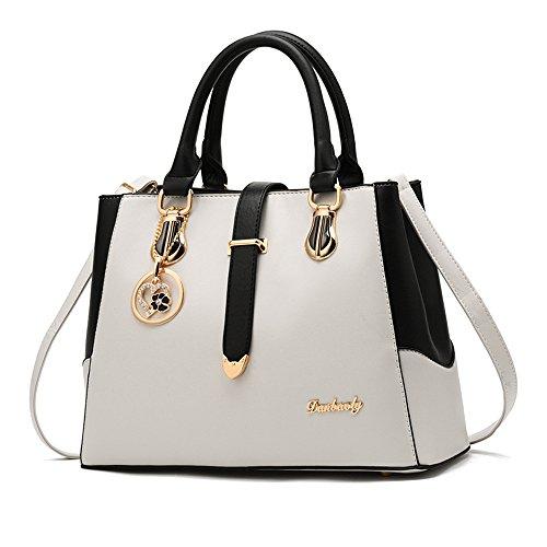 imbettuy neue schwarze und weiße Mode-Stil Handtasche lässig Umhängetasche Querkörperarbeit Taschengeldbeutel für Damen -