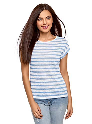 oodji Collection Donna T-Shirt a Righe Bianco (1070S)