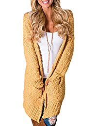 91806e853c1b27 Elapsy Womens Casual Open Fornt Long Sleeve Knitted Sweater Cardigans  Pockets