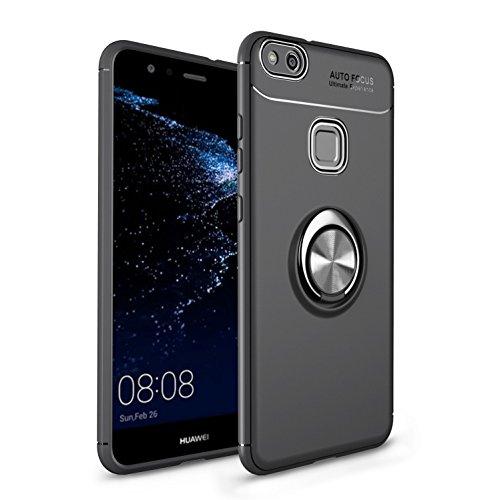 Shinyzone für Huawei P10 Lite Hülle,Schwarz mit 360 Grad drehbarer Ring Ständer,Ultra Dünn Weich TPU Stoßfest Schutzhülle Kompatibel mit Magnetischer Autohalterung