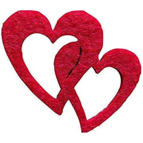 Petra S Kit creativo News a hedf5704–28strame decorazione, 50x doppio cuore 40mm,