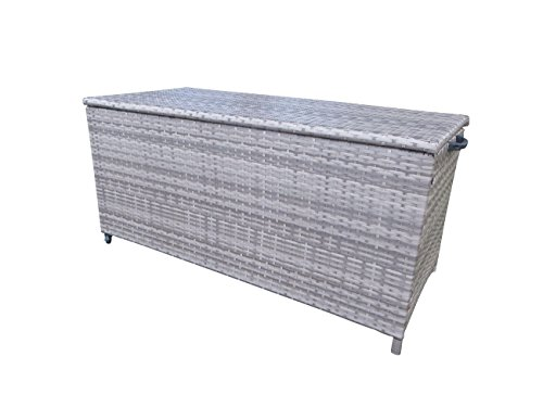 """Polyrattan Kissenbox """"Store Grey"""" mit zwei leicht laufenden Rollen in grau - taupe von Pure Home & Garden, 126 x 60 x 56 cm"""