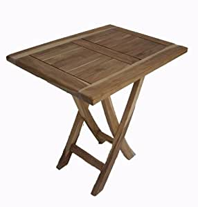 Ambientehome 62431 Folding Balcony Table, Square, Teak, 70 x 71 x 50 cm