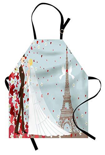 ochschürze, Französische Paar-Hand gezeichneter Paris-Eiffelturm, der verheiratete Herz-Feier erhält, Farbfest Höhenverstellbar Waschbar Klarer Digitaldruck, Weiß Blau Rot ()