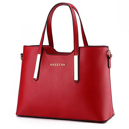 fanhappygo Fashion Retro Leder Damen elegant OL Pendler taschen Schulterbeutel Umhängetaschen Abendtaschen Rot