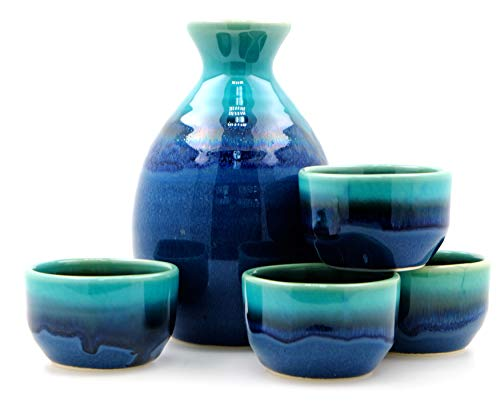 Blue Lagoon Sake-Set 4 Tassen - Japanisch -