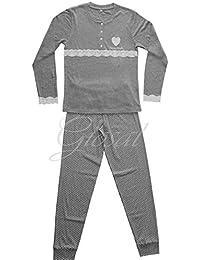 Pijama Mujer Cálido Algodón Encaje Corazones botones manga larga Varios colores cuello redondo Pierre Cardin GIOSAL