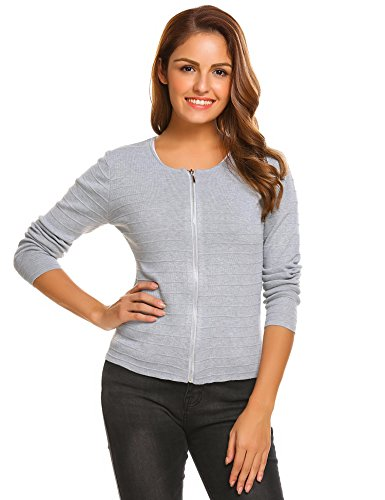 Beyove Damen Cardigan Strickjacke Kurz Strickmantel Pullover Feinstrick Strick Tops Outwear Hersbt Winter mit Reißverschluss Grau