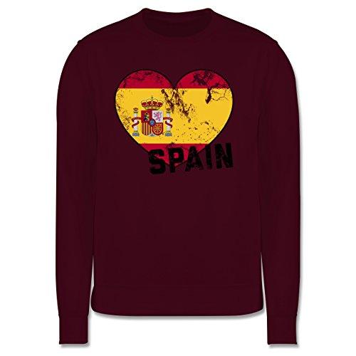 EM 2016 - Frankreich - Spain Herz Vintage - Herren Premium Pullover Burgundrot