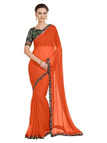 SOURBH Women's Chiffon Saree with Bandhani Printed Blouse (6239_Orange)