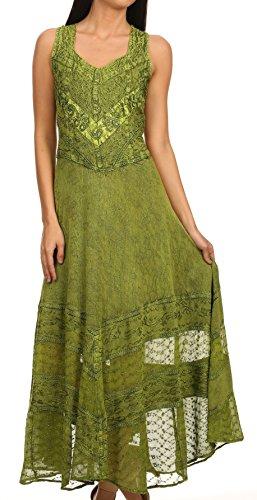 Sakkas 15225 - Zendaya Stonewashed Rayon Embroiderot Floral Vine Ärmelless V-Neck Kleid- grün-1X/2X -
