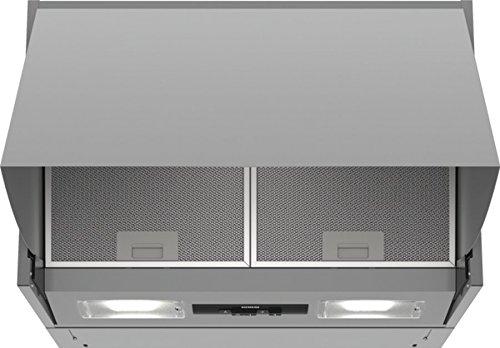 Siemens LE63MAC00 Dunstabzugshaube / Zwischenbauhaube / 59,9 cm / Metall-Fettfilter / Drucktastenschalter / Silber
