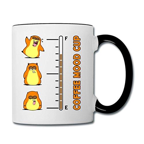 Hamster Kaffee Barometer Coffee Mood Tasse zweifarbig von Spreadshirt®, Weiß/Schwarz