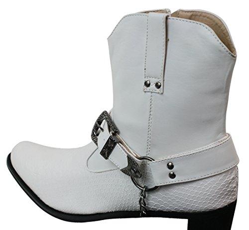 Herrenstiefel Weiß Schwarz Schlangenhaut Imitat Kettenmuster Cowboy Design Lässig Weiß