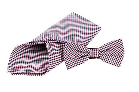 Sir Alex Herren Fliege vorgebunden mit handrolliertem Einstecktuch aus reiner Baumwolle als Set in edler Geschenkbox. Schleife und Kavaliertuch zum Hemd, Anzug oder Sakko. (Blau Rot
