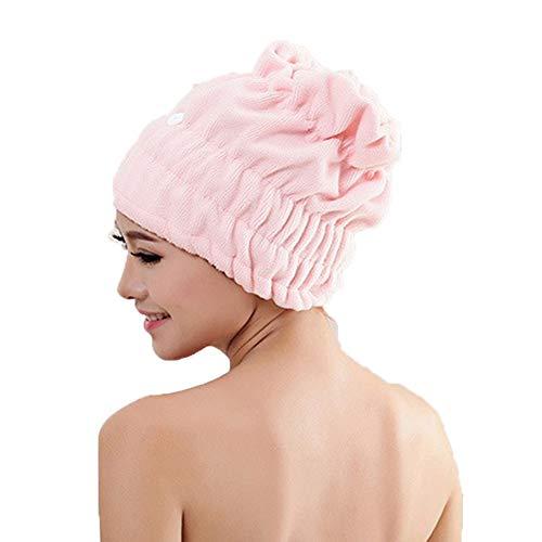 Fansi Mikrofaser Duschhaube Haar Turban Kopfhandtuch Haartrockentuch Handtuch für Haare Niedlich Damen Spitze Duschhaube Wrap Turban Haartrockentuch (1 Stück)