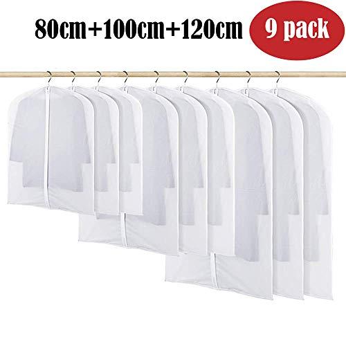 BangShou Kleidersack 6 Stück Kleidersäcke aus Atmungsaktive Material Transparent Kleidersäcke schutzhülle für Kleider und Anzüge (Mixed 9 Pack)