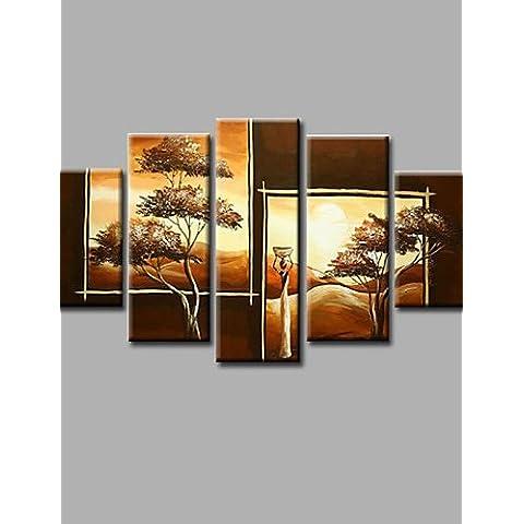 OFLADYH ® listo para colgar estiradas enmarcadas pintura arte de la pared de la lona del aceite árboles pintados a mano marrón mujeres