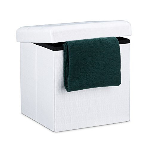 Relaxdays Ottoman Folding Cube Stool Storage with Removable Lid, Fabric, White, 38 x 38 cm