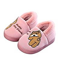 Amitafo Kids Slippers Winter Boys House Slippers Girls Plush Warm Indoor Shoes Toddlers Soft Slip On Bedroom Slippers Outdoor Comfort Anti-Slip Memory Foam Shoes