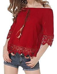 LuckyGirls Tee Shirts Femme Chic Mousseline Fleur Dentelle Patchwork Haut Épaules Nues Tops Décontractée Loose Blouse T-Shirts - Maxi - 5XL
