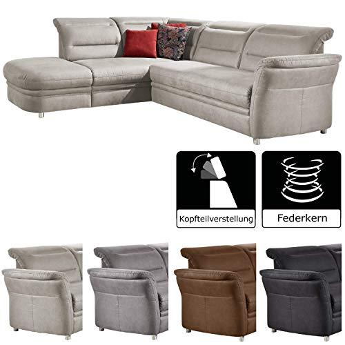 Cavadore Eck-Sofa Bontlei / Federkern-Couch mit verstellbaren Kopfteilen / 261 x 88 x 237 cm (BxHxT) / Mikrofaser hellgrau -