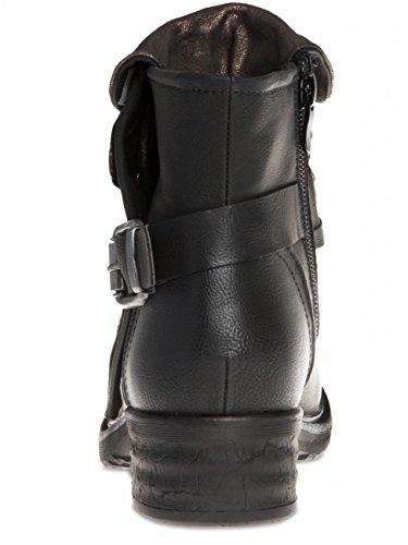 CASPAR SBO078 Boots biker vintage pour femme Noir
