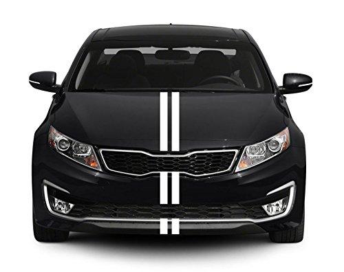 INDIGOS UG Viperstreifen - M213 glänzend - Weiß - 2 Streifen 400 cm x 5 cm - Stylisch - mit Übertragungsfolie - Tuning - Carstyling - Viper - Racingstreifen
