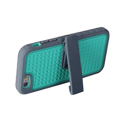 iPhone 7 Plus Coque,Lantier Design unique antidérapant avec clip pour ceinture Housse de protection résistante aux chocs 3 en 1 pour iPhone 7 Plus 5.5 inch Noir+Marine Belt Clip Series Grey+Mint Green