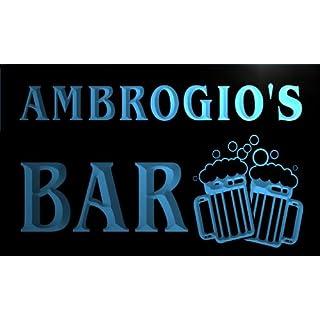 w047737-b AMBROGIO Name Home Bar Pub Beer Mugs Cheers Neon Light Sign
