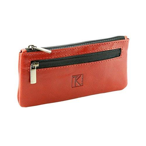 TK 1979 - 2 EN 1 Porte-monnaie/porte-clés 100% cuir TK075 CAMEL Achat/cadeau utile - Orange, Cuir