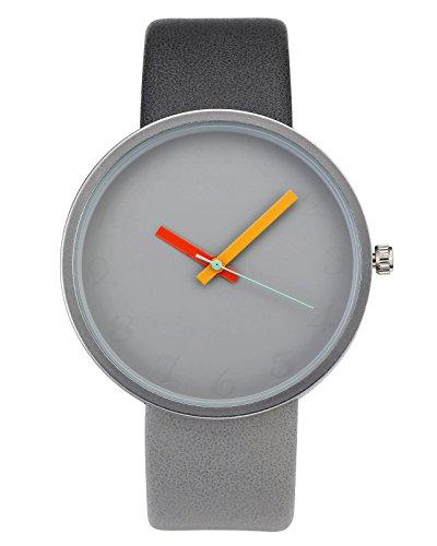 Armbanduhr Minimalist Kontrastfarbe Studentenuhr PU Lederarmband Analog Quarzuhr Dunkl-Hell Grau ()
