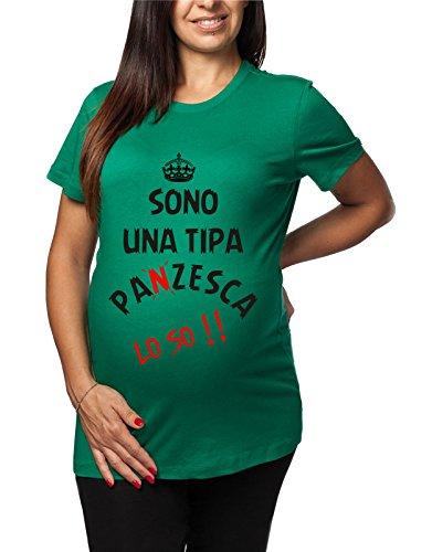 Tshirt lunga da donna ideale per il premaman Sono una tipa paNzesca lo so - tshirt simpatiche e divertenti - humor Verde