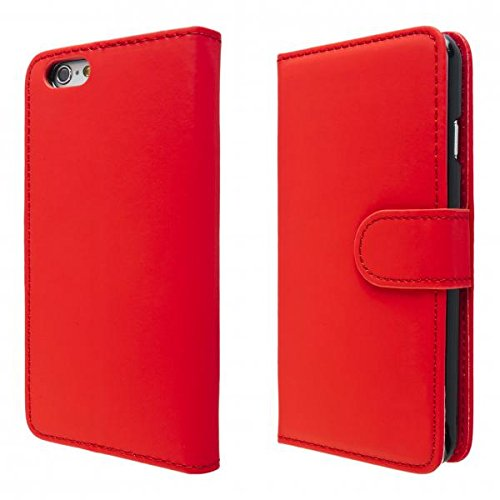 ECENCE APPLE IPHONE 6+ 6S+ PLUS (5,5) SCHUTZ HÜLLE HANDY TASCHE CASE COVER KLAPP HÜLLE WALLET BRIEFTASCHE BOOK-STYLE MIT STANDFUNKTION STANDFUSS 41010304 Rot