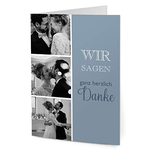 greetinks 30 x Dankeskarten zur Hochzeit 'Bastel Mix' in Blau | Personalisierte Danksagungskarten zum selbst gestalten | 30 Stück Danksagung Karten