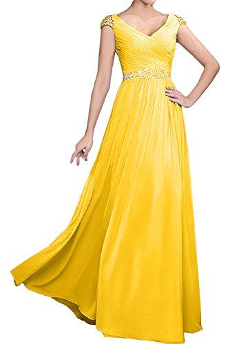 TOSKANA BRAUT Elegant Neu V-Neck Falte Kurzarm Abendkleider Lang Partykleid Promkleider Golden