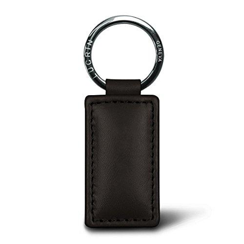 Lucrin Porte Clés Rectangulaire Simple Cuir Vachette Lisse 8 cm Marron PM1085_VCLS_MRR