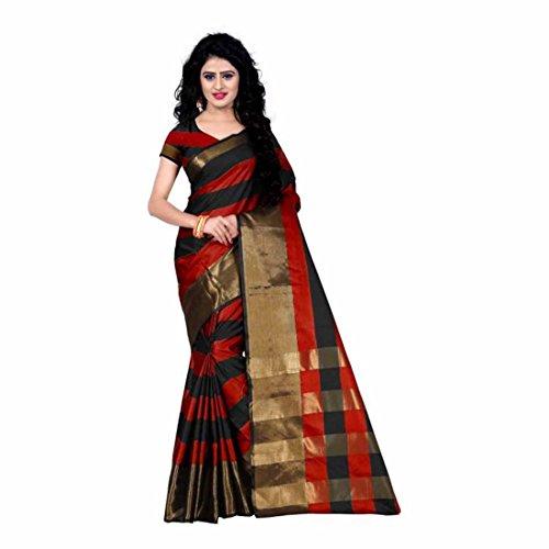 Indian Handicrfats Export Striped Fashion Tussar Silk Saree (Red, Black) Red Saree