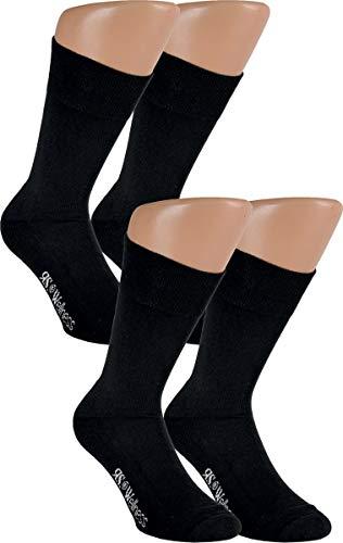 RS. Harmony   Socken und Strümpfe für Herren   Baumwolle Qualität Softrand Wellness   4 Paar   schwarz   43-46