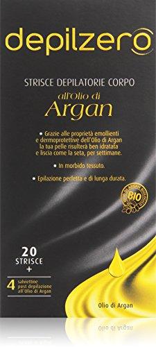 Depilzero - Strisce Depilatorie Corpo, all'Olio di Argan - 20 pezzi