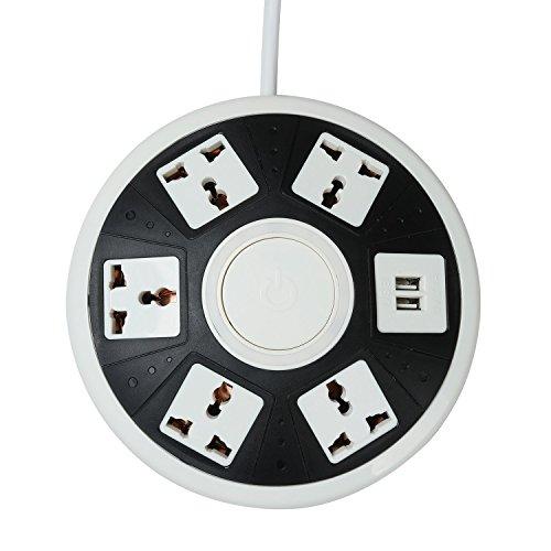COOSA inteligente de recarga USB Power Strip Extensión UFO toma de cargador de la UE 5 puntos de venta con 2 puertos de carga USB protector de sobretensión Protección contra rayos y sobrecarga para el iPhone 66S6 plus6s plus,Samsung Galaxy S7S6 edge,Tablets Electrónica